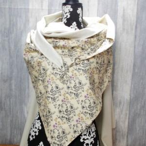 Dreieckstuch, XL Halstuch, Karabiner, beige, Florales Muster