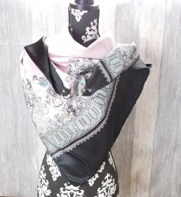 Dreieckstuch, rosa schwarz, elegant, XL Tuch