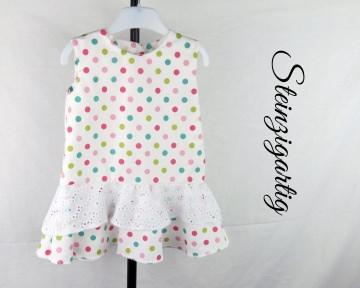 Süsses Kinderkleid aus Baumwolle Gr. 74 und 92