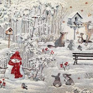 ☆  Gobelin    :Winter im Park:   Bildweberei mit Lurex von außergewöhnlicher Genauigkeit,  Meterware