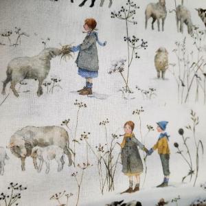 ☆ Bedruckter Baumwollstoff  :Winterkinder und Schafe :    Meterware  - Handarbeit kaufen