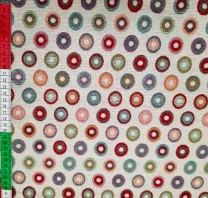 ☆ Gobelin   :Dots :  oder auch Punkte,  auf diesen Gobelin sind bunte Punkte mit einem Durchmesser von ca.2,5cm. Den fröhlichen Punktestoff verarbeite ich zu Tichsets, Tischläufer,