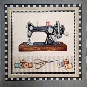 ☆ Gobelin  : Nähmaschine nähen mit Leidenschaft : Paneele 47cm x 47cm , antike Nähmaschine  umrahmt von einem dezenten Muster.