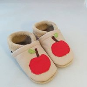 Lederpuschen Apfel Gr. 24/25 - 28/29, handgenäht, verschiedene Farben und Größen