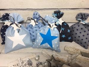 Adventskalender-Säckchen Sterne(Blau) ★24 Selbst befüllbare Stoffbeutel★ (Kopie id: 100250836) - Handarbeit kaufen