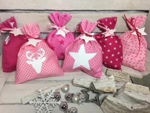 Adventskalender-Säckchen Sterne(Rosa/Pink) ★24 Selbst befüllbare Stoffbeutel★ (Kopie id: 100250848) - Handarbeit kaufen