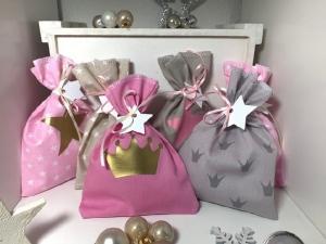 Adventskalender - Säckchen Krone rosa beige gold  ★24 Selbst befüllbare Stoffbeutel★ (Kopie id: 100205009) (Kopie id: 100205741) (Kopie id: 100250829) - Handarbeit kaufen