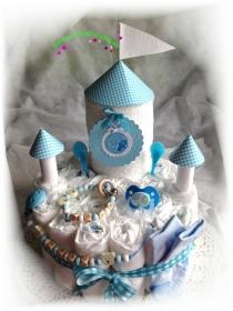 Windeltorte  Schloss Windelschloss Baby Boy Girl Mädchen Junge  Bär Teddy Katze rosa blau Hund personalisiert mit Name Geschenk Taufe Geburt Babyparty  (Kopie id: 100261904) (Kopie - Handarbeit kaufen