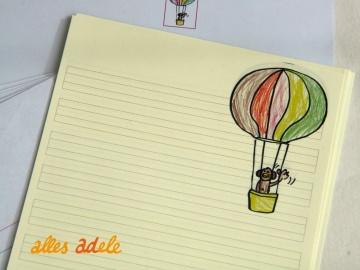 Briefpapier für Schreibanfänger - Lustige Ballonfahrt - mit Lineatur 1. Klasse (Kopie id: 100086523)