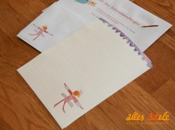 Briefpapier für Schreibanfänger ☆ Kleine Ballerina ☆ mit Lineatur 1. Klasse