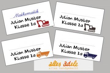 Heftaufkleber für die Schule mit Namen - 24 Stück - Baustelle