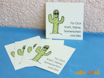 Geschenkkarte quadratisch *cooler Kaktus* 5er Pack | Geschenkanhänger Grußkarte