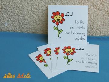 Geschenkkarte quadratisch *fröhliche Blume* 5er Pack | Geschenkanhänger Grußkarte