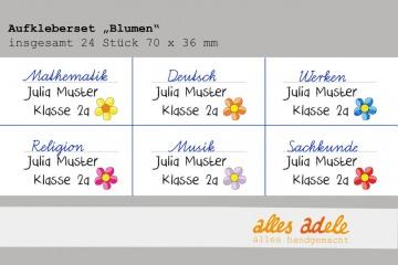 Heftaufkleber für die Schule mit Namen - 24 Stück - Blumen | Namensaufkleber