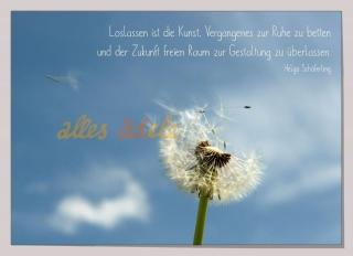 Grußkarte ♡ Loslassen ♡ mit Pusteblume auf Naturkarton
