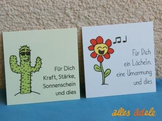 Geschenkkarte quadratisch *fröhliche Blume* und *cooler Kaktus* 2er Pack | Geschenkanhänger Grußkarte