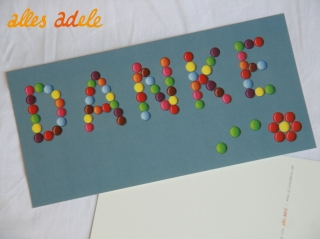 Grußkarte ♡ süßes Danke ♡ mit Schokolinsen