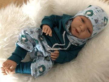 Baby-Set Muschelmädchen bestehend aus Pumphose, Hoodie und Mütze aus Liebe von Hand gefertigt