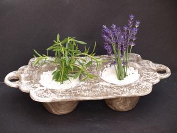 Vintage Kräuter Keramik Pflanzgefäß  für 2 Pflanzen in Steinoptik - Sonderpreis !!