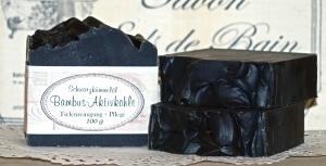 Bambus Aktivkohle - schwarze Seife mit Schwarzkümmelöl -  6,80 EUR/ 100 g
