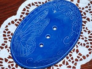 Seifenschale Keramik *Schmetterling blau*