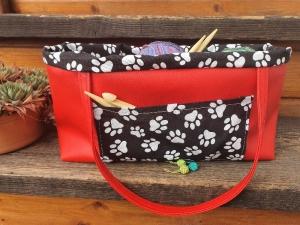 Projekttasche aus Kunstleder und Stoff für alle Strick- und Häkelfreunde - Handarbeit kaufen