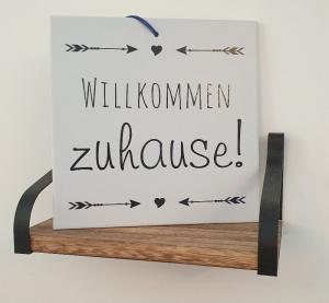 Fliese ♥Wllkommen zuhause!♥ 20x20cm als Wanddekoration oder zum Hinstellen - Handarbeit kaufen