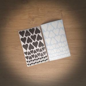 Aufkleber-Bogen 210x125mm Herzen♥, Sterne☆, Mix in schwarz oder weiß