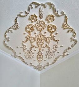 Traumhafte Stuck Ecke für die Decke in weiß, gold, silber.. Variante 8 - Handarbeit kaufen