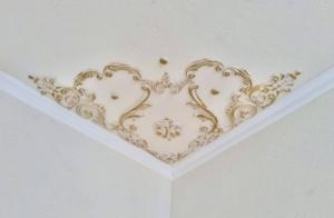 Traumhafte Stuck Ecke für die Decke in weiß, gold, silber.. Variante 9 - Handarbeit kaufen