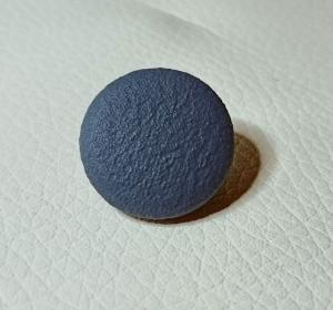 Knopf, Öse, Polsterknopf, mit Leder bezogen, 20 mm, Blau - Handarbeit kaufen