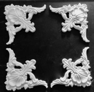 4-er Set Eck-Elemente in WEISS, Gips Stuck, Dekoelemente, Dekoration, Handmade - Handarbeit kaufen