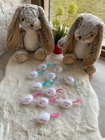 Süße Osterhasen mit Wunschnamen Kuscheltier Hase personalisiert  - Handarbeit kaufen