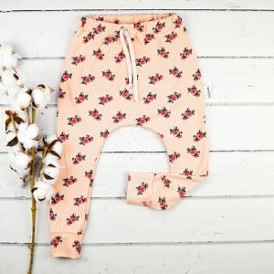 Slimharem Pants aus Jersey Peach Roses Gr.98  nach Öko Tex Standard   - Handarbeit kaufen