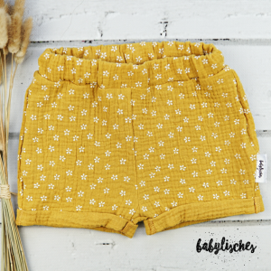 Shorts aus Musselin Senfgelb  Gr.86 - Handarbeit kaufen