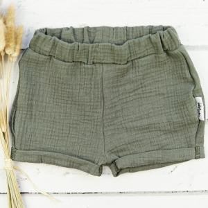 Shorts aus Musselin Khaki  Gr.80 - Handarbeit kaufen