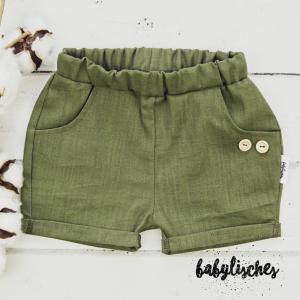 Shorts aus100% Leinen in Olive Gr.92 mit Hosentaschen   - Handarbeit kaufen