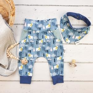 Set BabyPocket Pants & passendes Halstuch aus Jersey -Eisbär- Gr.68     - Handarbeit kaufen