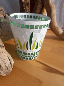 Grüne Vase Windlicht Glasmosaik 17 x 14,5 cm Glas Unikat Tiffanyglas