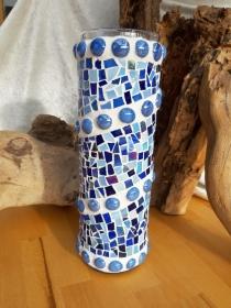 blaue Glasmosaik Vase 30cm Mosaik Glas unikat Eyecatcher Farbspiel - Handarbeit kaufen