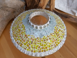 Mosaikvase gelb ☀ flach 20 x 33cm Vase groß Handarbeit unikat Tiffany Glas - Handarbeit kaufen