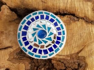 Mosaik Linse blau türkis 10 cm Glas schwimmt Teich Tiffany Blumenmosaik