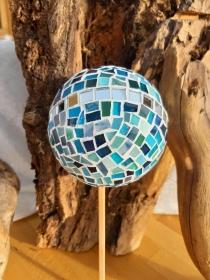 Glasmosaik Rosenkugel türkis 11cm Pflanzenstecker Mosaik Tiffanyglas Gartendeko
