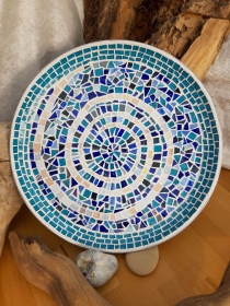 Mosaik Tablett blaue Spirale 36cm upcycling unikat Handarbeit Gartendeko