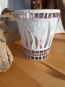 rosé lila Vase Windlicht Glasmosaik 17 x 14,5 cm Glas Unikat Tiffanyglas - Handarbeit kaufen