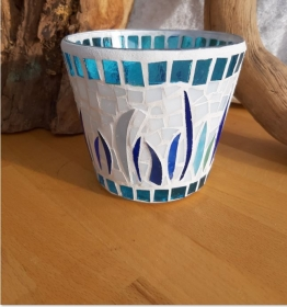 türkis blaue Vase Windlicht Glasmosaik 11 x 12,5 cm Glas Unikat Tiffanyglas - Handarbeit kaufen