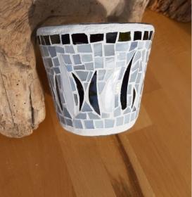 schwarz weiß graue Vase Windlicht Glasmosaik 11 x 12,5 cm Glas Unikat Tiffanyglas - Handarbeit kaufen