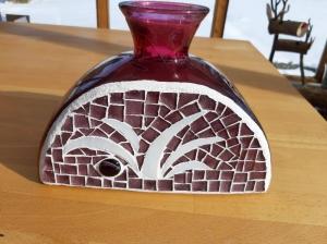 lila weiße Glas farbspiel Vase Mosaik 24 x 17 cm upcycling unikat standfest - Handarbeit kaufen