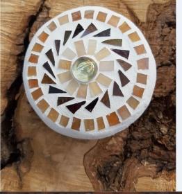 Mosaik Linse braun 10 cm Glas schwimmt Teich Tiffany Blumenmosaik Glasmosaik beige - Handarbeit kaufen