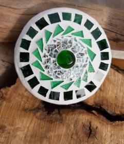 Mosaik Linse grün 10 cm Glas schwimmt Teich Tiffany Blumenmosaik Glasmosaik spiegeleffekt - Handarbeit kaufen